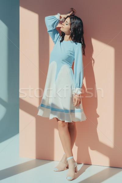 Kobieta turkus sukienka elegancki stałego Zdjęcia stock © LightFieldStudios