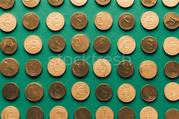 top view of pattern of golden coins on green, st patricks day concept Stock photo © LightFieldStudios