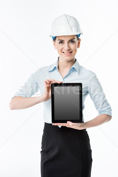 Stockfoto: Vrouwelijke · architect · digitale · tablet · glimlachend