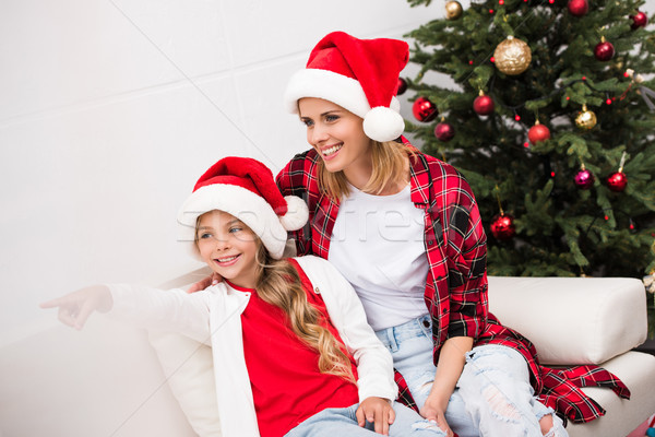 Stock photo: happy mother and daughter at christmas