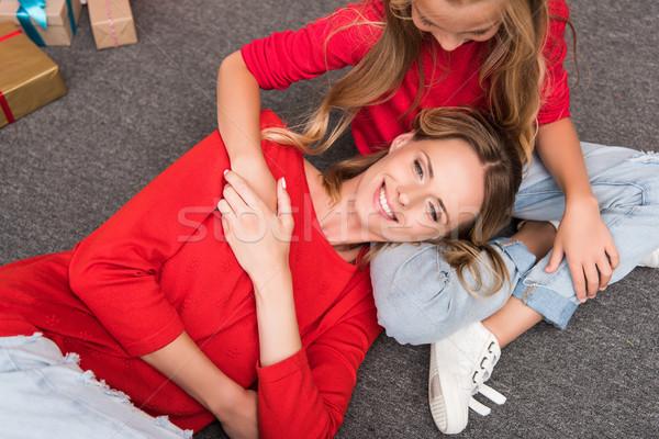hugging mother and daughter Stock photo © LightFieldStudios