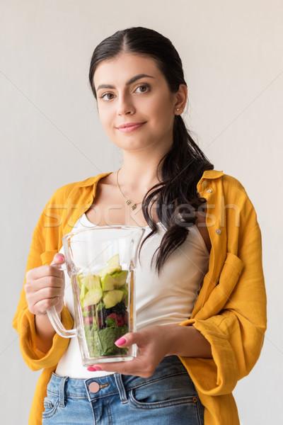 Vrouw glas jar vers voedsel portret Stockfoto © LightFieldStudios