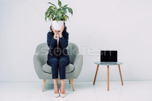 Femeie de afaceri faţă ghiveci de flori elegant şedinţei fotoliu Imagine de stoc © LightFieldStudios