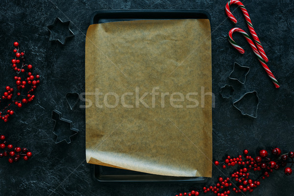 baking tray and cookie cutters Stock photo © LightFieldStudios