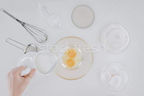 Foto stock: Tiro · pessoa · leite · cozinhar · panquecas