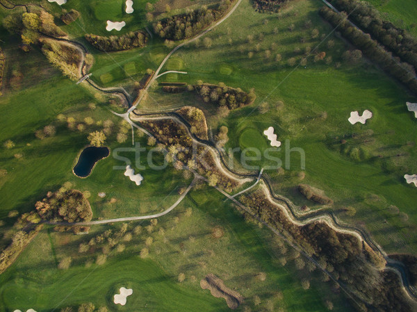 Aerial view of landscape with green hills and ponds, Germany Stock photo © LightFieldStudios