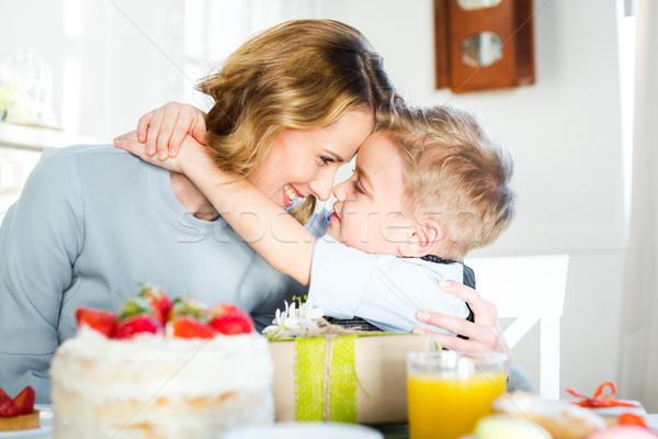 ストックフォト: 幸せ · 母親 · 触れる · 座って