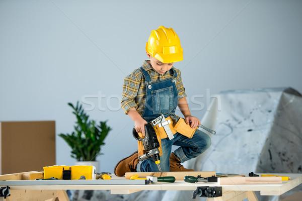 Stockfoto: Weinig · jongen · tools · cute · helm · tool