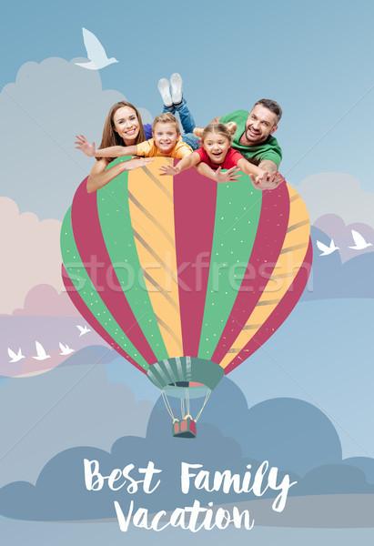 family flying on air balloon Stock photo © LightFieldStudios