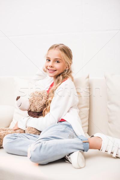 çocuk oyuncak ayı mutlu çok güzel oturma Stok fotoğraf © LightFieldStudios