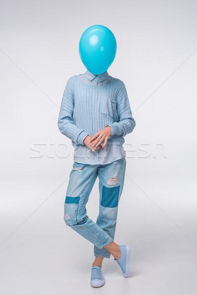 girl with blue balloon Stock photo © LightFieldStudios