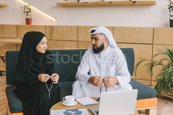 Muszlim üzleti partnerek ül kanapé iroda lobbi Stock fotó © LightFieldStudios