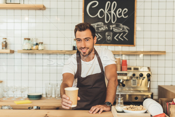 barista with coffee to go Stock photo © LightFieldStudios