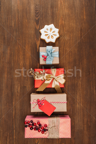 Christmas presenteert cookie top houten tafel Stockfoto © LightFieldStudios