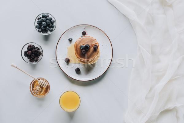 先頭 表示 甘い おいしい パンケーキ はちみつ ストックフォト © LightFieldStudios