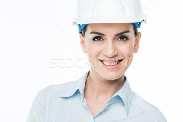 Stockfoto: Vrouwelijke · architect · naar · camera · glimlachend