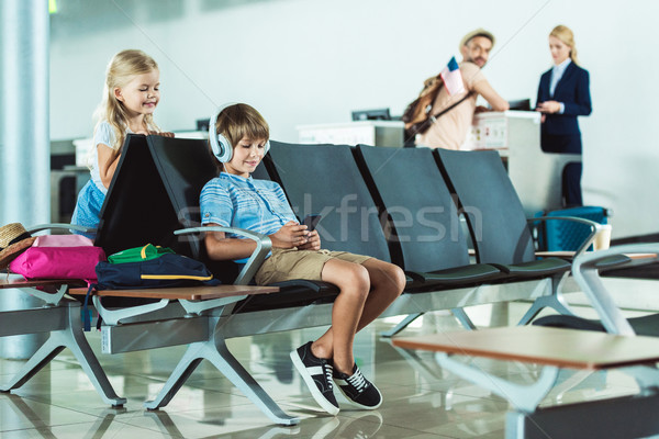 kids at airport Stock photo © LightFieldStudios