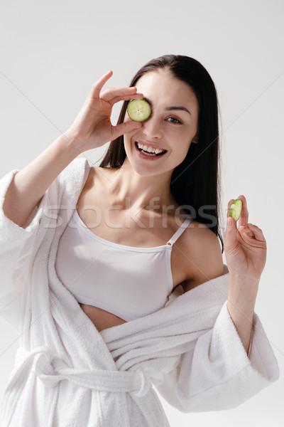 女性 スライス キュウリ 笑顔の女性 白 ストックフォト © LightFieldStudios
