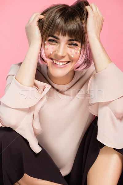 Laughing woman with creative makeup Stock photo © LightFieldStudios