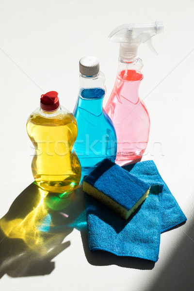 cleaning products with sponge and rag Stock photo © LightFieldStudios