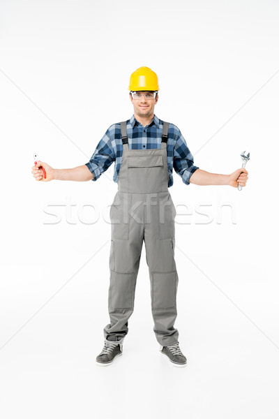 Professionnels travailleur de la construction Homme casque Photo stock © LightFieldStudios