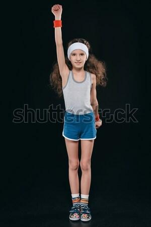 girl posing in sportswear isolated on black. 12 year old kids, children sport concept Stock photo © LightFieldStudios