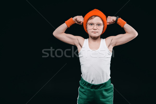 boy posing in sportswear isolated on black. 12 year old kids and active kids concept Stock photo © LightFieldStudios