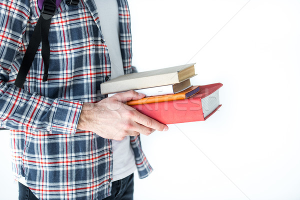 Középső rész diák tart könyvek izolált fehér Stock fotó © LightFieldStudios