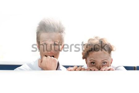 Ritratto paura scienziati guardando fuori dietro Foto d'archivio © LightFieldStudios
