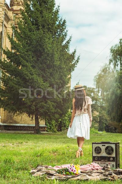 Elegáns lány szalmakalap park hátulnézet sétál Stock fotó © LightFieldStudios