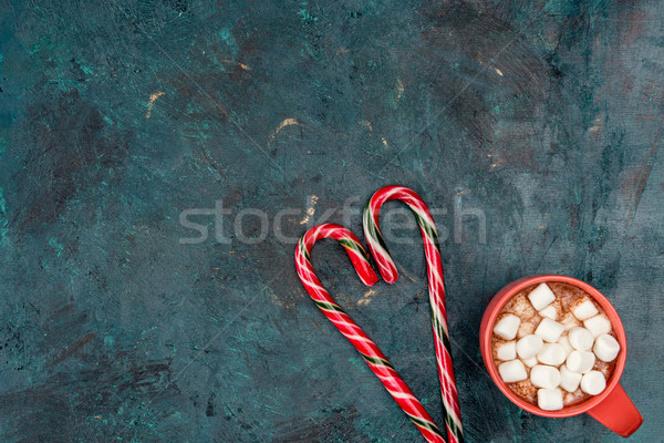 hot chocolate with marshmallows and candy canes Stock photo © LightFieldStudios