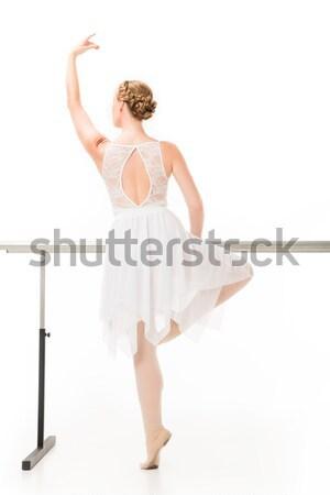 Hátulnézet elegáns menyasszony tánc hagyományos esküvői ruha Stock fotó © LightFieldStudios