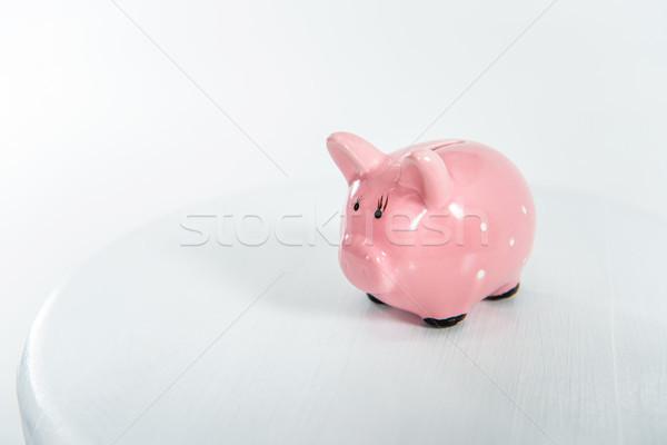 Kicsi rózsaszín persely áll fehér copy space Stock fotó © LightFieldStudios