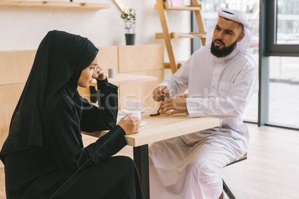 ムスリム カップル 引数 カフェ 現代 ストックフォト © LightFieldStudios