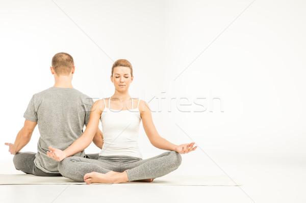 пару сидят Lotus положение Сток-фото © LightFieldStudios