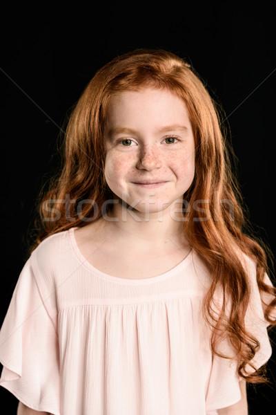 Portré imádnivaló kicsi vörös hajú nő lány mosolyog Stock fotó © LightFieldStudios