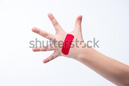 Stock fotó: Piros · folt · kéz · közelkép · kilátás · fehér