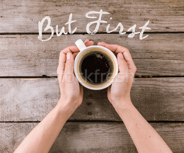 Stock photo: coffee mug steam in hands