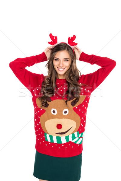 Femme hiver chandail portrait heureux Photo stock © LightFieldStudios