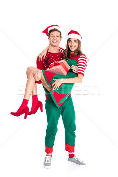 Mann halten Freundin vorliegenden lächelnd Stock foto © LightFieldStudios