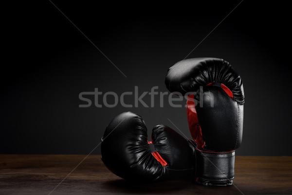 черный боксерские перчатки выстрел темно Сток-фото © LightFieldStudios