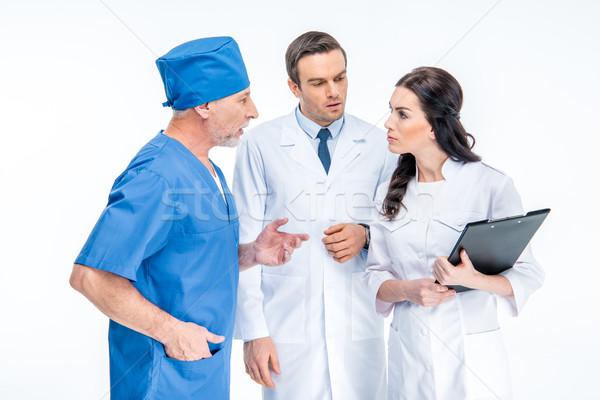 три врачи вместе белый медицинской Сток-фото © LightFieldStudios
