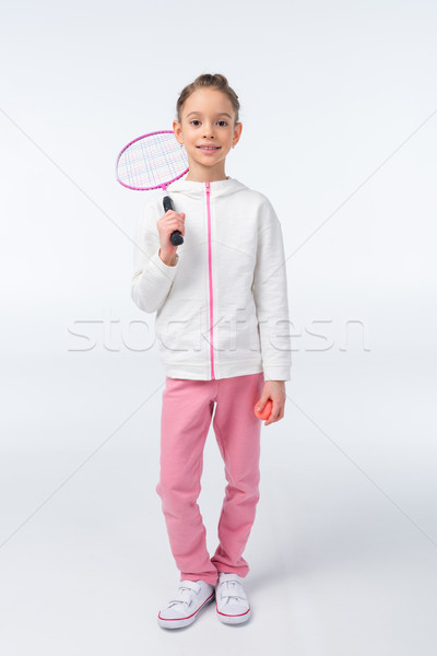 Souriant fille badminton raquette blanche Photo stock © LightFieldStudios