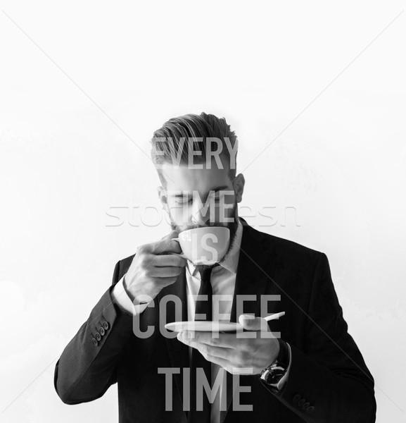 Stijlvol bebaarde zakenman pak drinken koffie Stockfoto © LightFieldStudios