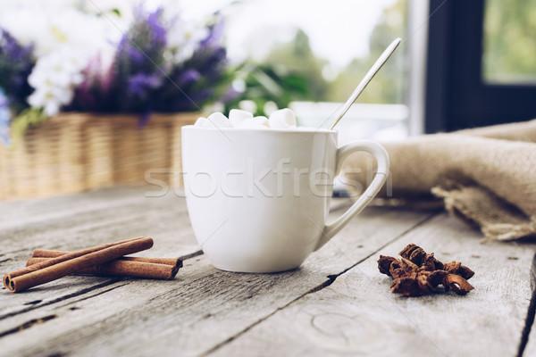 Beker cacao heemst selectieve aandacht zoete specerijen Stockfoto © LightFieldStudios
