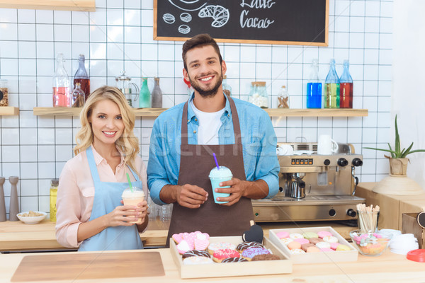 barista and waitress with milkshakes Stock photo © LightFieldStudios