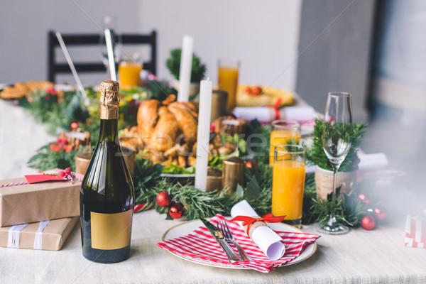 クリスマス ディナー 装飾された 表 料理 ストックフォト © LightFieldStudios
