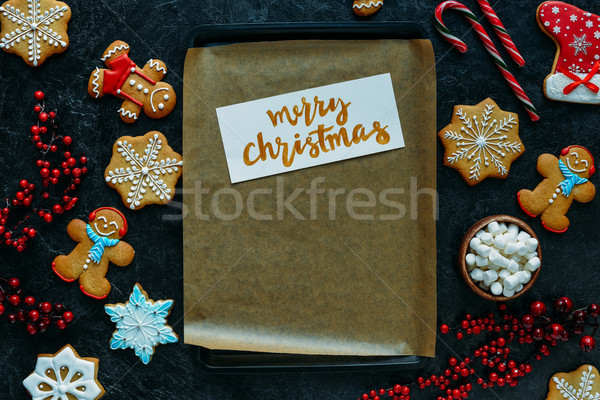 christmas card on baking tray Stock photo © LightFieldStudios