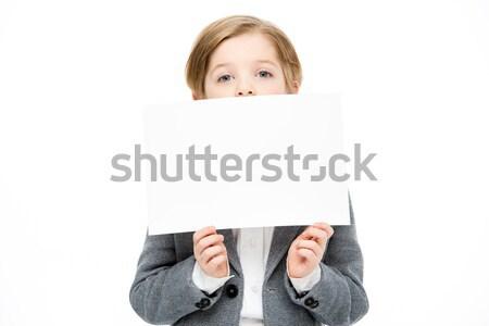 Garçon carte vierge peu cacher visage blanche Photo stock © LightFieldStudios