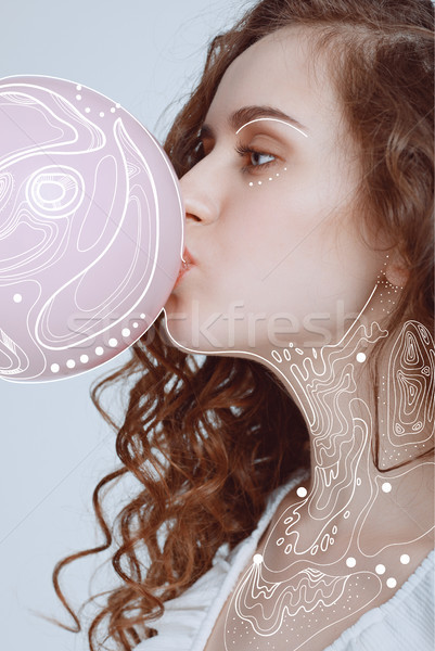 hipster girl blowing bubble gum Stock photo © LightFieldStudios